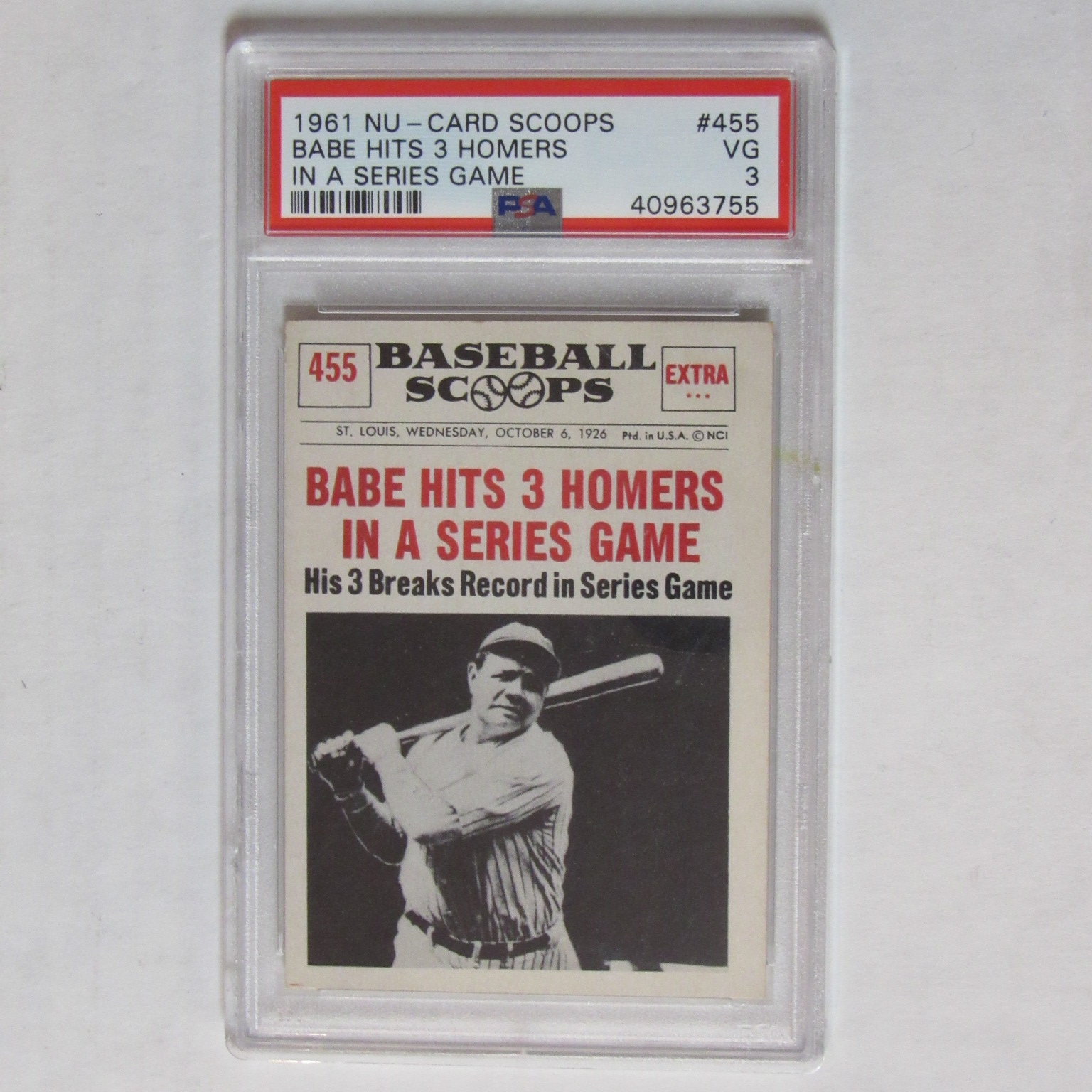 1961 Nu Card Scoops 455 Babe Ruth 3 Homers Graded Psa 3 Vg